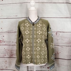 Icelandic Design Zippered Nordic Sweater Size L